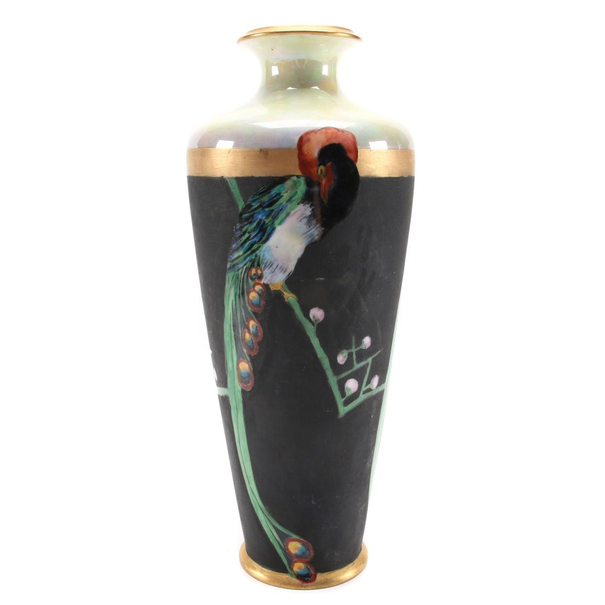 Caroline Seats Hand-Painted Peacock on Rosenthal Porcelain Vase, Early 20th C.
