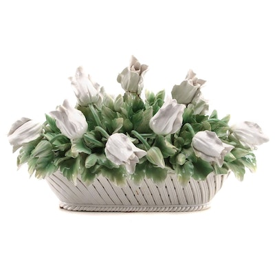 Italian Capodimonte Style Porcelain White Tulip Arrangement, Mid to Late 20th C.