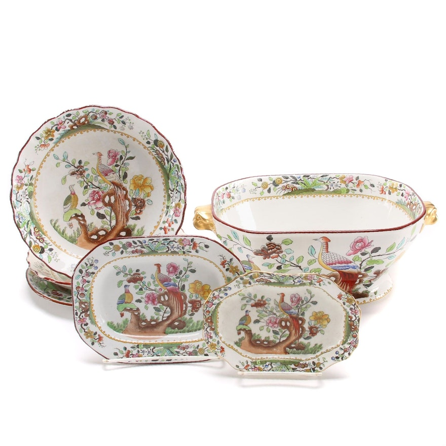 """Spode """"Birds of Paradise"""" Footed Vegetable Bowl and Other Serveware"""