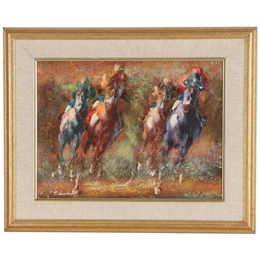 P. Gardner Oil Painting of Derby Race, Mid to Late 20th Century