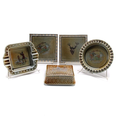 Wade Co. Irish Porcelain Cigarette Box, Ashtrays and Coasters, Mid-20th Century