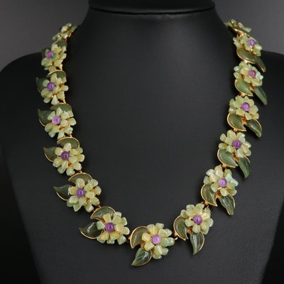 1960s Unsigned Swoboda Amethyst, Nephrite and Chalcedony Flower Necklace