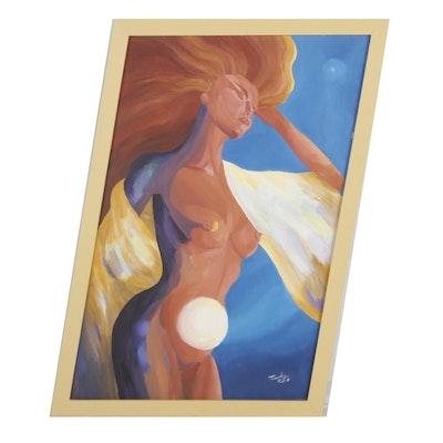 Oil Painting of Female Nude Figure, 1994
