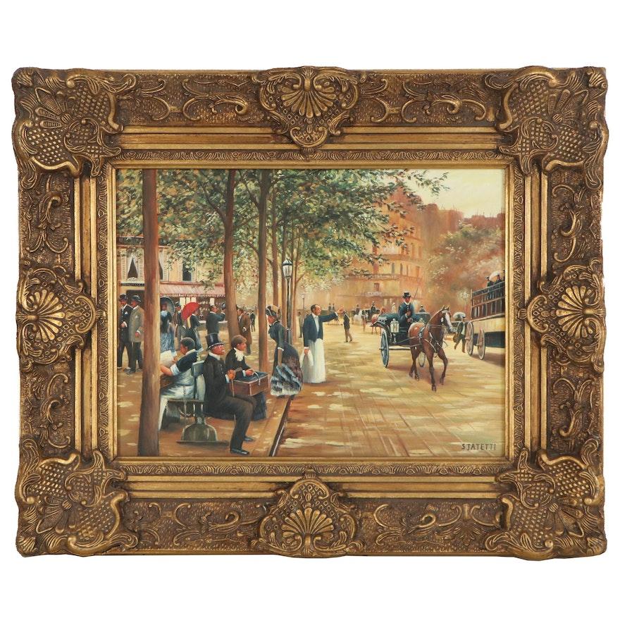 "Oil Painting ""European Street Scene,"" Late 20th Century"