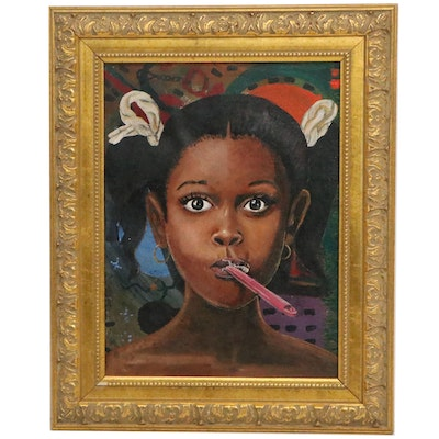 Oil Painting of Young Girl Brushing her Teeth, Late 20th Century