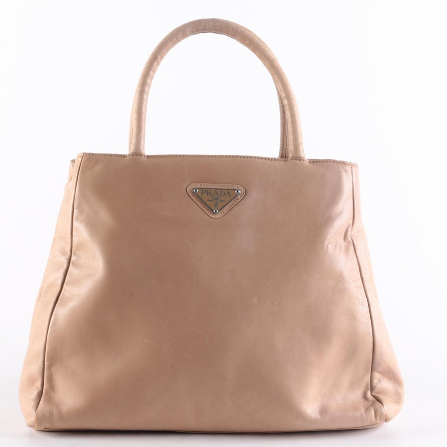 Prada Beige Smooth Leather Top Handle Bag