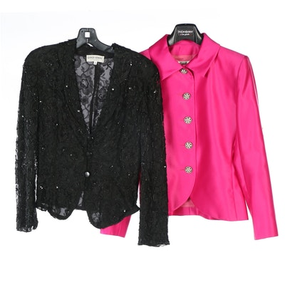 Yves Saint Laurent Fuchsia Blazer and Giorgio Armani Black Embellished Blazer