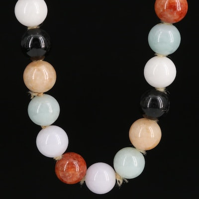 Individually Knotted Jadeite and Black Onyx Necklace with 14K Flower Clasp
