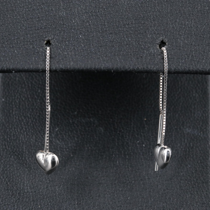 14K Dangling Heart Earrings
