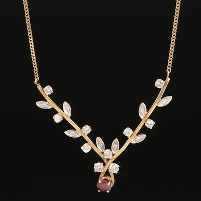 14K Corundum and 1.04 CTW Diamond Flower Station Necklace