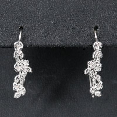 14K Floral Drop Earrings