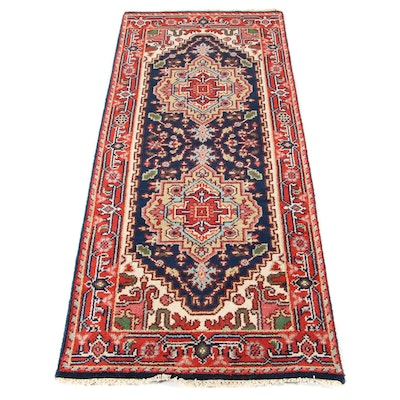 2'6 x 6'4 Hand-Knotted Turkish Heriz Serapi Runner, Contemporary