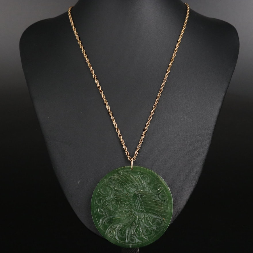 Carved Nephrite Dragon and Phoenix Necklace