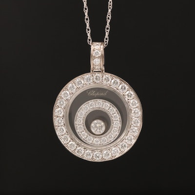 "Chophard ""Happy Spirit"" 18K Diamond Pendant on 14K Chain Necklace"