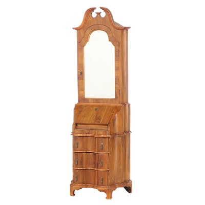 Italian Baroque Style Olive Wood and Fruitwood Bureau Cabinet, 20th Century
