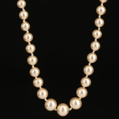 Graduated Imitation Pearl Necklace with 10K Clasp