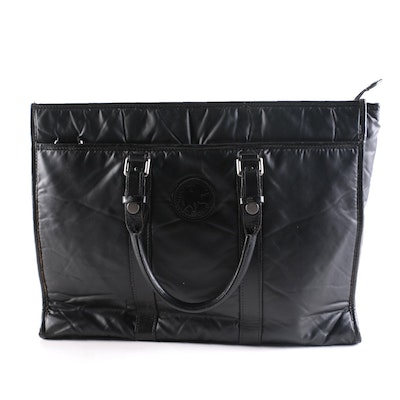 Hunting World Black Nylon Tote with Black Leather Trim
