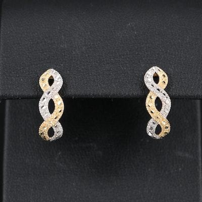10K Diamond Cut Criss Cross Half Hoop Earrings