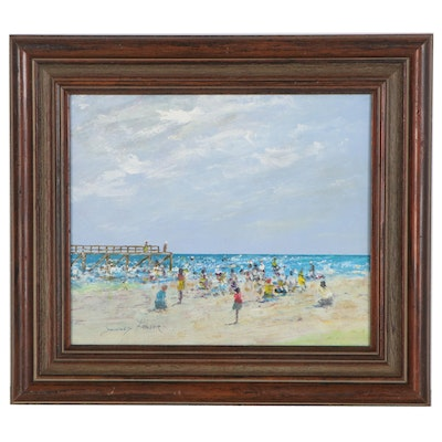 Donald Fraser Oil Painting of Beach Scene, Late 20th to 21st Century