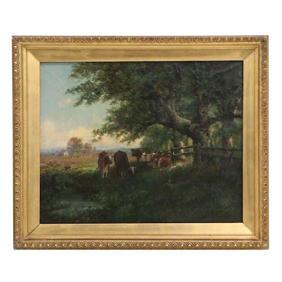 Oil Painting of Pastoral Landscape with Cows, Late 19th Century