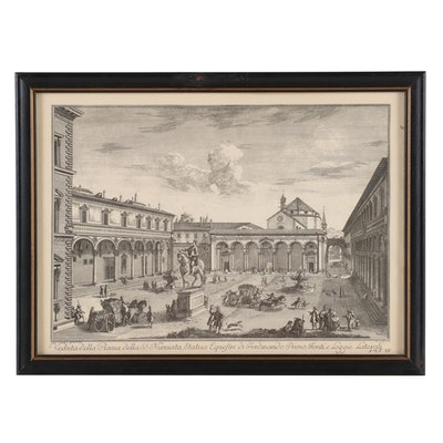 Italian Etching of Courtyard Plaza after Giuseppe Zocchi