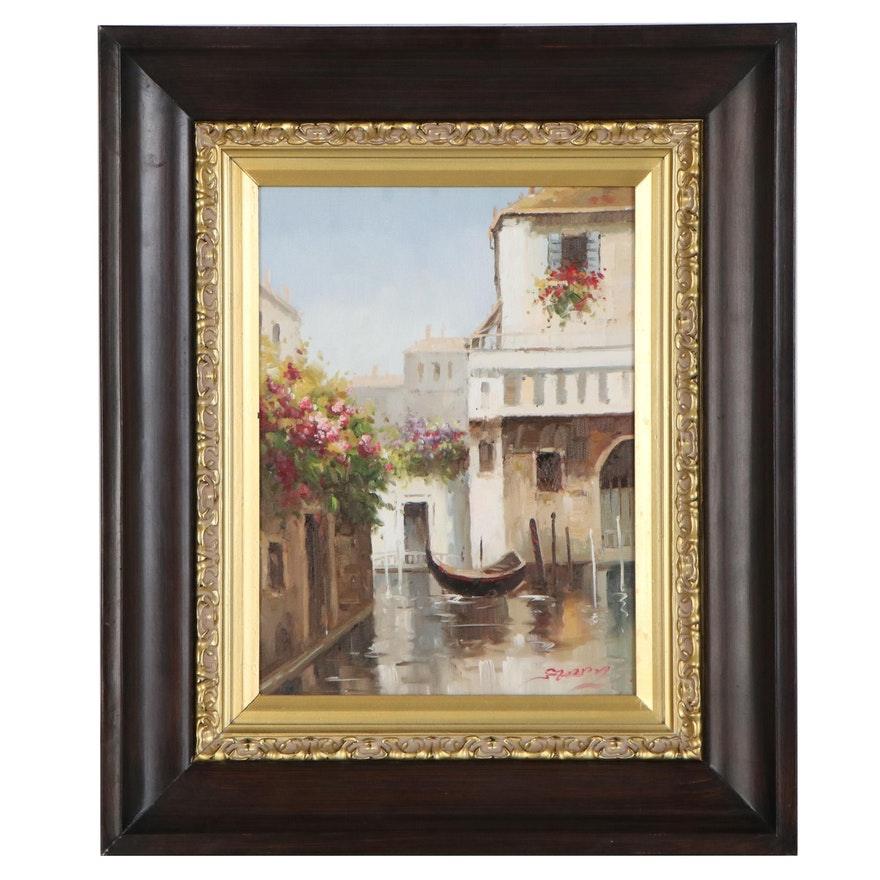 Oil Painting of Venetian Canal Scene, Late 20th to 21st Century