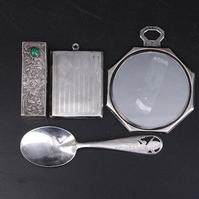 Italian 800 Silver Lipstick Case with other Sterling Vanity Items and Baby Spoon