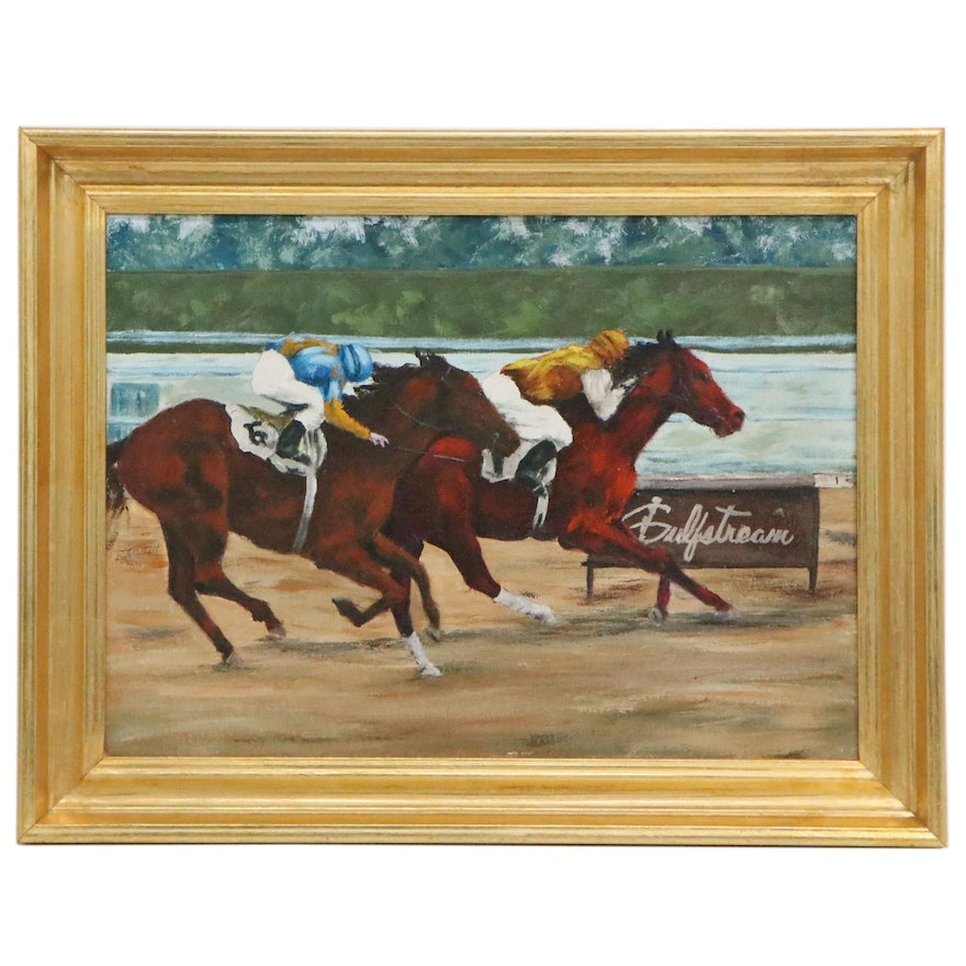 Oil Painting of Jockeys at the Finish Line, Late 20th Century