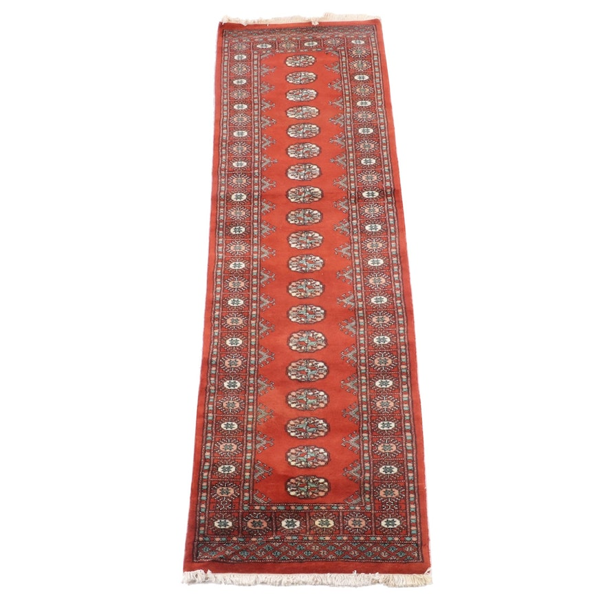 2'7.5 x 12'3.5 Hand-Knotted Afghani Bokhara Wool Carpet Runner