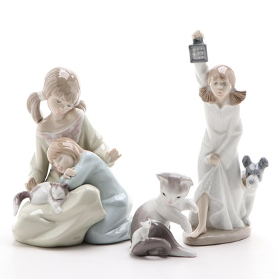 Lladro Porcelain Little Sister, Kitten and Mouse and Nao Girl with Lantern