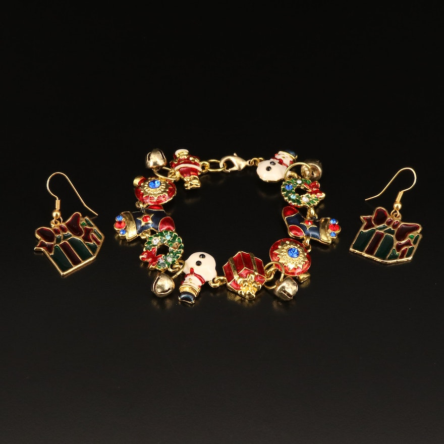 Christmas Themed Bracelet and Earrings Featuring Glass and Enamel Accents