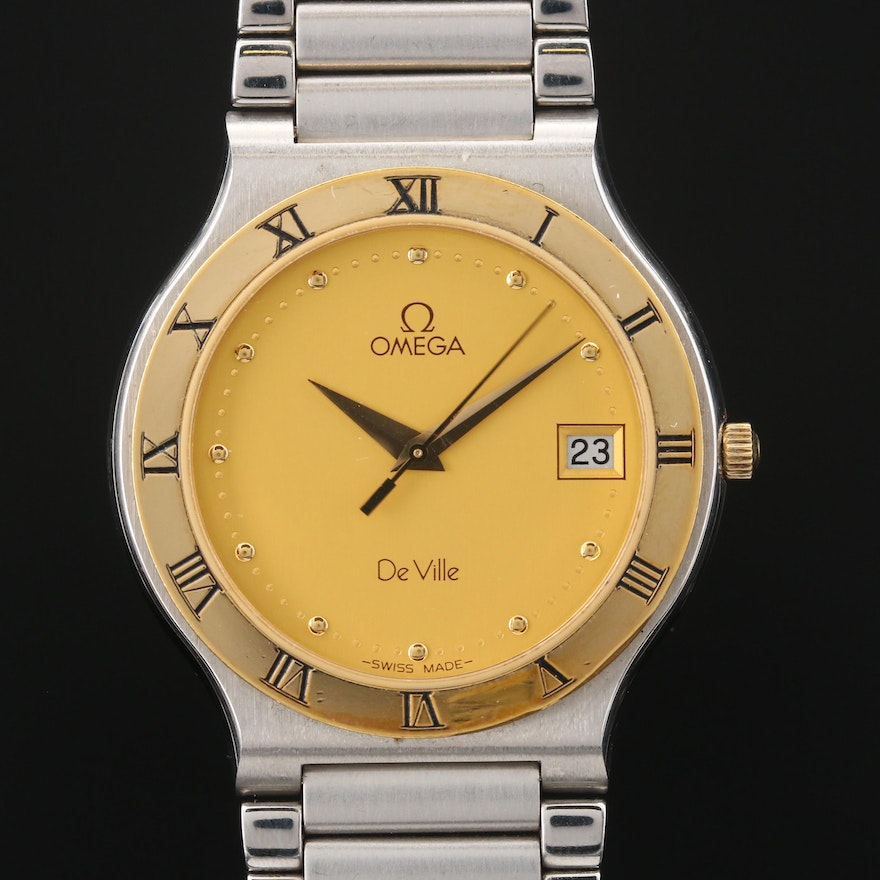 18K Omega DeVille with Date Stainless Steel Quartz Wristwatch