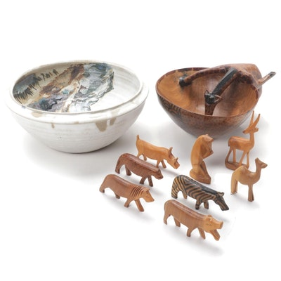 Carved Wood Giraffe Bowl with Animal Figurines and Pictorial Ceramic Bowl