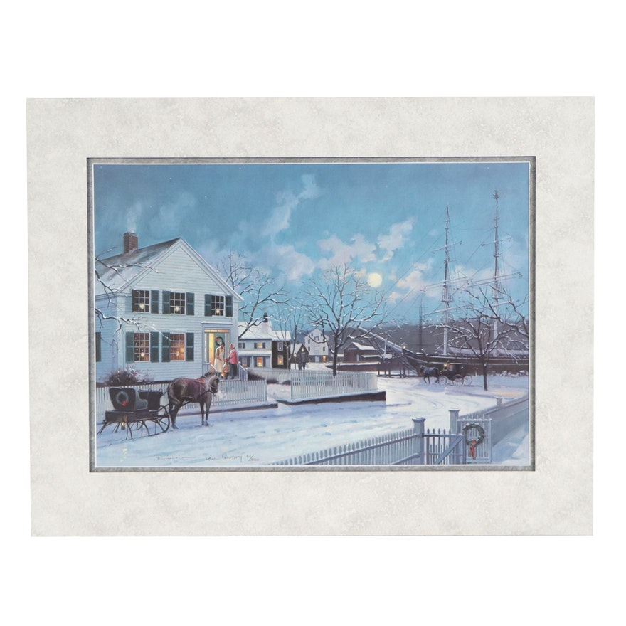 "Paul Landry Offset Lithograph ""Christmas at Mystic Seaport,"" 1993"