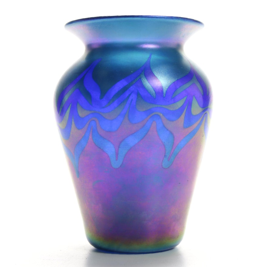 Vandermark Iridescent Art Glass Vase, Late 20th Century