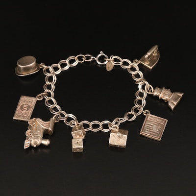 Sterling Monopoly Board Game Themed Charm Bracelet