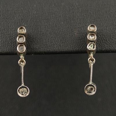 Sterling Macle Diamond Earrings with 14K Screw Backs