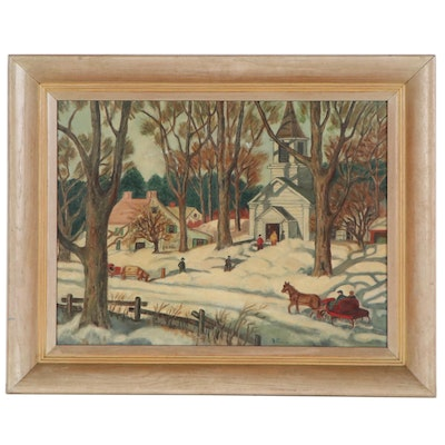 A. Ponzio Folk Art Oil Painting of Snowy Church Scene, 20th Century