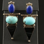 Southwestern Darla N. Sterling Silver Turquoise and Gemstone Drop Earrings