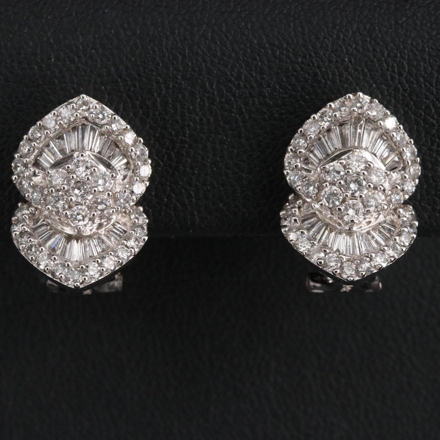 14K 2.14 CTW Diamond Ballerina Set Earrings