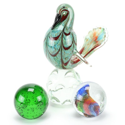 Art Glass Paperweights and Bird Figurine