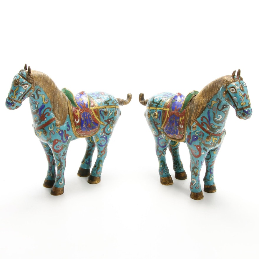 Chinese Tang Dynasty Style Cloisonné War Horse Figurines, 20th Century
