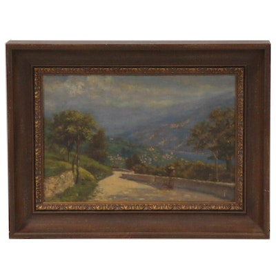 Oil Painting of Landscape with Stone Path, Early to Mid 20th Century