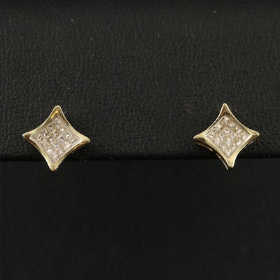 14K Pavé Diamond Stud Earrings