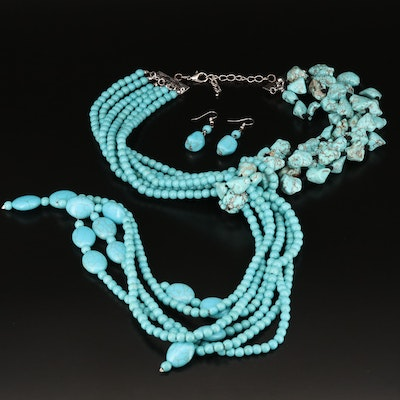 Turquoise and Howlite Multi-Strand Y Necklace with Drop Earrings