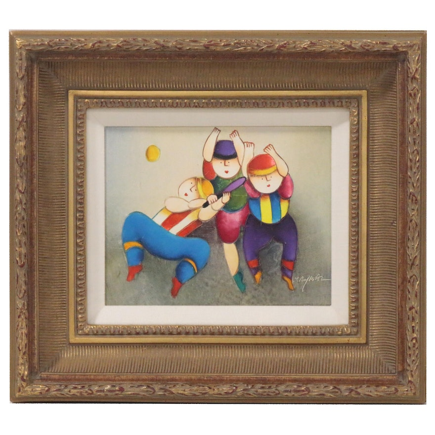 J. Roybal Acrylic Painting of Sport Players, 20th Century