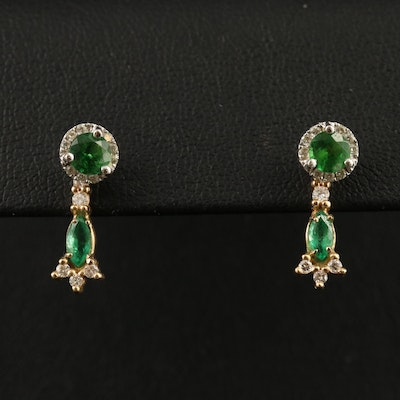 14K Stud Diopside and Diamond Earrings with Emerald and Diamond Enhancers