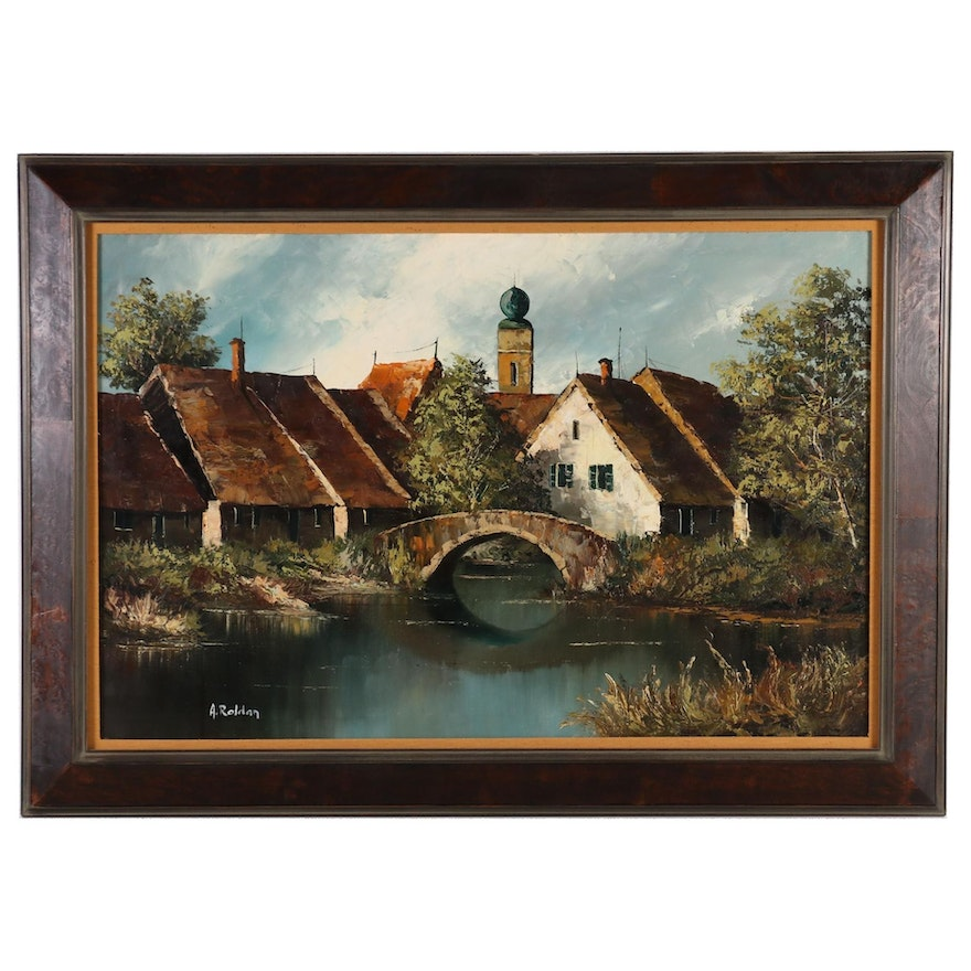 A. Roldan Oil Painting of Village River Landscape with Bridge, Late 20th Century