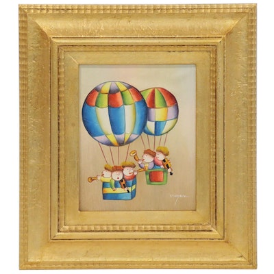 J. Roybal Oil Painting of Musicians in Hot Air Balloons, Late 20th Century