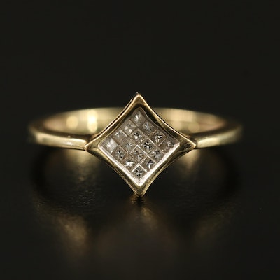 14K Invisible Set Ring with Geometric Motif